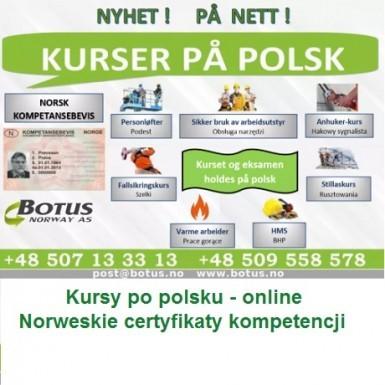 KURSY po polsku - Kompetansebevis – Norweskie certyfikaty kompetencji.